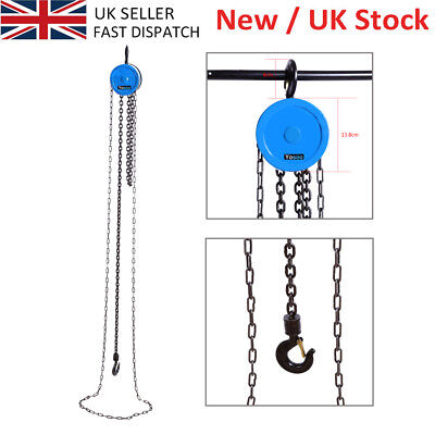 £26.15 • Buy 1 Ton Chain Hoist Block And Tackle Winch Capacity Engine Lift Puller Heavy Duty
