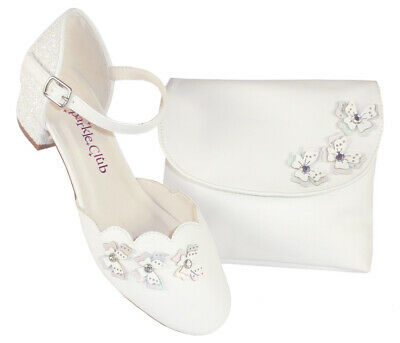 £33.50 • Buy Girls Childrens White Low Heeled Shoes Bag Flower Girl Bridesmaid Holy Communion