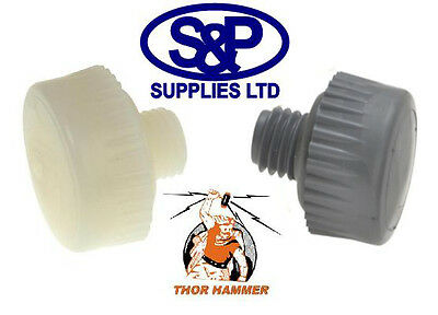 Replacement Hammer Faces For Thor 710nf/vf Pair Of 32mm White / Grey Nylon • 7.99£