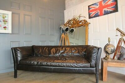 JOHN LEWIS Groucho Black Leather Sofa RRP £1650 Still Selling • 650£