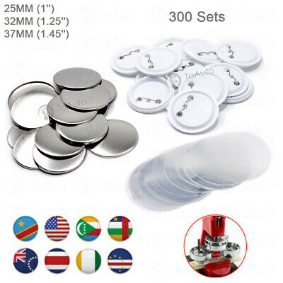 £28.19 • Buy 300 Sets Button Supplies Parts Round Plastic For Badge Maker Machine 25/32/37mm