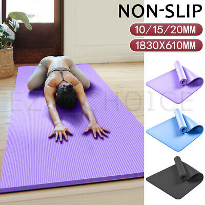 AU30.99 • Buy 10/15/20MM Thick Yoga Mat Pad NBR Nonslip Exercise Fitness Pilate Gym Durable AU