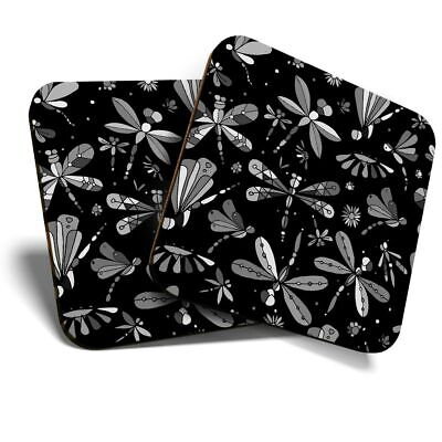 £5.99 • Buy 2 X Coasters (BW) - Colorful Dragonfly Butterfly Print  #36348