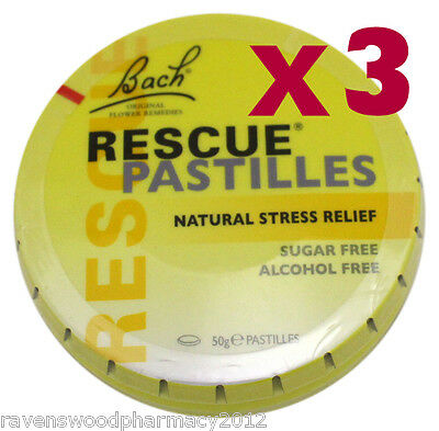 3 X Bach Flower Rescue Remedy Pastilles 50g Tin ::Natural Stress Relief:: • 29.83£