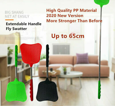 AU3.99 • Buy Big Fly Swatter Extendable Handle Telescopic Insect Mosquito Steel Handle 65cm