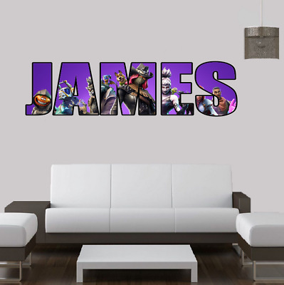 Personalised Name Fortnite Style Stickers Decal Vinyl Wall Art Gaming - Any Name • 14.99£