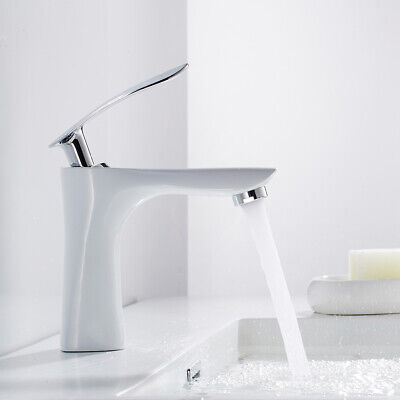 £22.99 • Buy Bathroom Taps Basin Sink Mixer Chrome Cloakroom Tap With 2 Hoses Modern White,