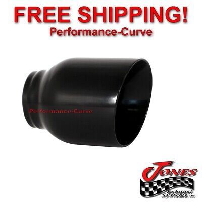 $ CDN36.18 • Buy Stainless Exhaust Tip Double Wall Angle Black 2.5  Inlet - 4  Outlet - 5  Long