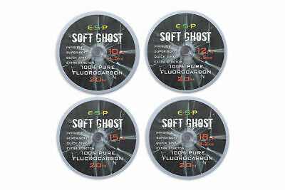ESP Soft Ghost 100% Fluorocarbon Hooklink 20m Spool CHOOSE 10,12,15 Or 18lb • 11.99£