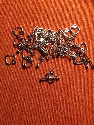 Jewellery Toggle Clasps X20 Pairs Heart-shaped Silver-plated 10mm Across Heart • 1.99£
