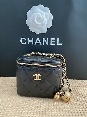AU3500 • Buy Authentic Chanel Mini Vanity Bag With Gold Chain Lambskin Black