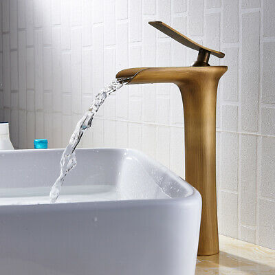 Retro Tall Waterfall Bathroom Basin Mixer Taps Brass Faucets Counter Top • 38.48£