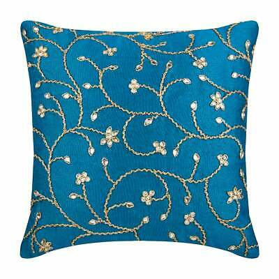 Silk Couch Cushion Cover 45x45 Cm Designer Blue, Zardozi - Peacock Blue Ivy • 54.92£