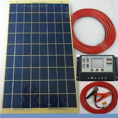 10w Solar Panel /w 7m Cable & 10A 12v LCD 2 X USB Charger Controller & Bat Clips • 27.95£