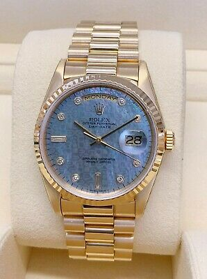 £15395 • Buy Rolex Day Date 36mm 18238 Blue MOP Diamond Dial Yellow Gold SERVICED