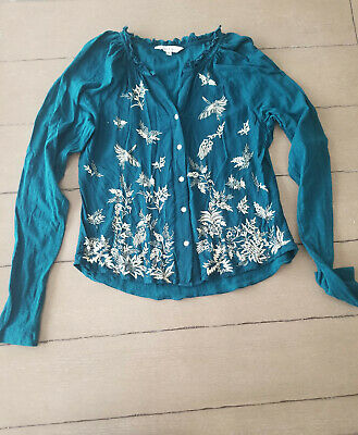 $ CDN25 • Buy Womens Top XS ~ Anthropologie ~ Ranna Gill ~ Teal ~ Embroidered ~ Long-sleeve