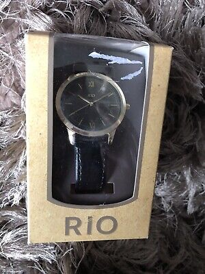 Rio Wrist Watch Black Strap Black Face Gift Boxed New Mens Womens • 7£