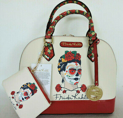 $71.99 • Buy FRIDA KAHLO Painted Face Beige And Red Large Satchel Messenger Bag  Authentic