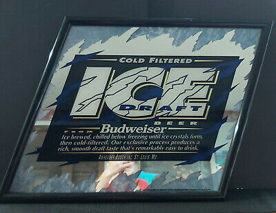 $ CDN29.99 • Buy Vintage 1993 Budweiser Ice Draft Beer Sign Mirror Sports Bar Man Cave She Shed