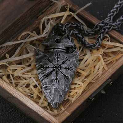 Viking Helm Of Awe Rune Necklace Stainless Steel Nordic Amulet Jewellery Pendant • 2.86£