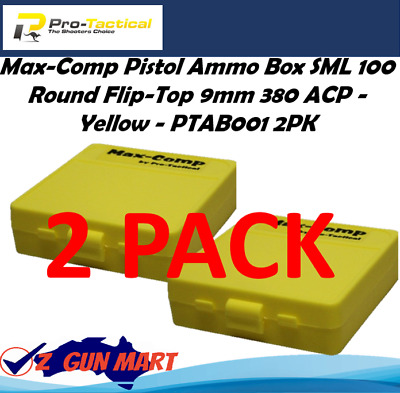 AU19.60 • Buy Max-Comp Pistol Ammo Box SML 100 Rnd Flip-Top 9mm 2 Pack - Yellow - PTAB0012PK