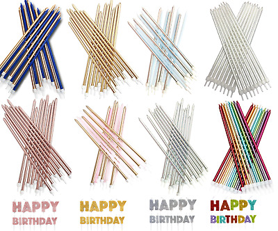 £3.89 • Buy 16 Extra Tall Candles & Holders 18cm Birthday Party Cake Topper Decoration Pick
