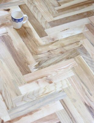 £45.99 • Buy Parquet Flooring Unfinished Solid Wood Ash Herringbone Rustic 21mm Thick T&G