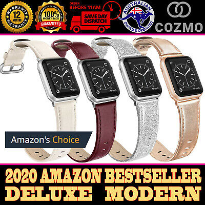 AU19.95 • Buy For Apple Watch Band Series 6 5 4 3 Genuine Leather Glistering Strap 38 40 42 44