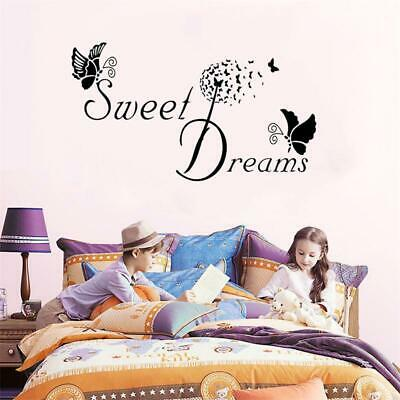 Bedroom Wall Stickers Removable Decals DIY SWEET DREAMS Butterfly LOVE Quote • 3.59£
