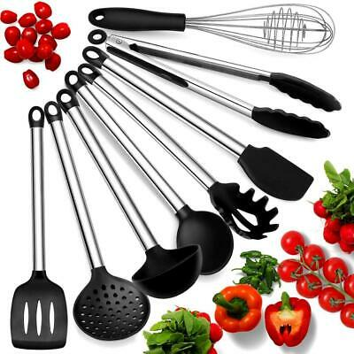 AU49 • Buy Kitchen Utensil Set 8 Pce Silicone & Stainless Steel Cooking Non-Stick BPA Free