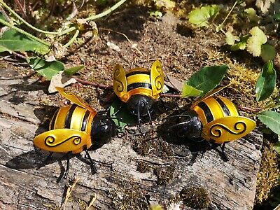 Set Of 3 Bumble Bee Bugs  Wall Art Decor Ornament Home/garden/fence/tree • 15£