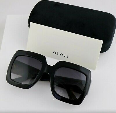 $155 • Buy Gucci GG0053S 001 54mm Square Black Women Sunglasses With Light Grey Lens