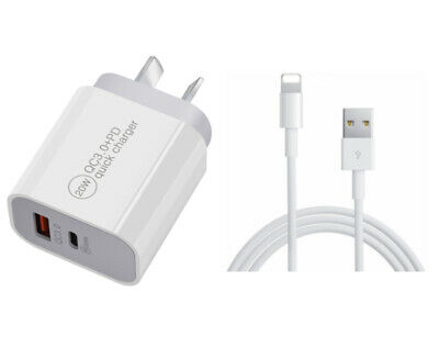 AU8.99 • Buy IPhone 12 11 Pro Max Xs XR 8 Plus Qualcomm 3.0 Quick Fast Wall Charger Cable 20W