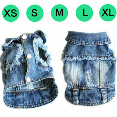 £6.57 • Buy New Fashion Denim Dog Vest Coat Jean Jacket Outfits For Small Medium Dog And Cat