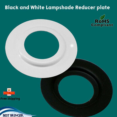 2 X White And Black Lamp Shade Adapter Reducer Plate Washer Ring Metal Converter • 3.14£