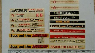 Bus Side Advert Transfers, 8 Pairs. 4mm Mabex Waterslide Decals. • 6£