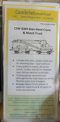 CAMBRIAN C5w GWR 6TON CRANE & MATCH TRUCK + Wheels NEW ITEM  OO GAUGE • 23.50£