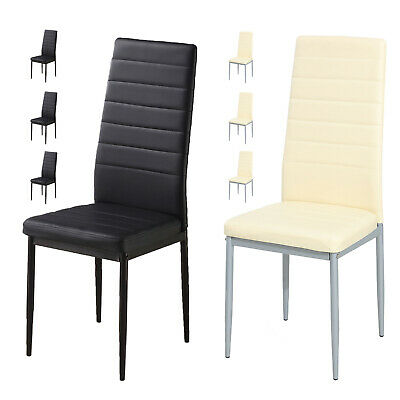 $179.99 • Buy 5 Piece Dining Table Sets Glass Metal 4 PU Leather Chairs Kitchen Room Furniture