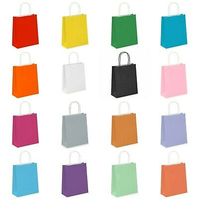 £12.99 • Buy 1 -125 Coloured PAPER BAGS. Twisted Handles. Party, Birthday, Gifts, Carrier Bag