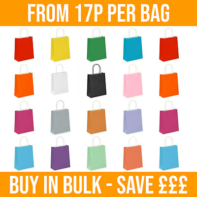 £2.30 • Buy 1 -350 Coloured PAPER BAGS. Twisted Handles. Party, Birthday, Gifts, Carrier Bag