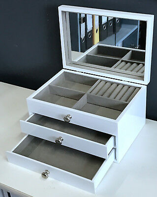 AU39.95 • Buy LARGE WOODEN JEWELLERY GIFT BOX IN GLOSSY FINISH 6819011 WHITE 2k