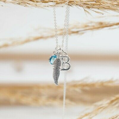 Feather Necklace, Personalised Gifts,  Women's Jewellery, Rememberance, Initial • 15.50£