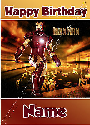 Iron Man Super Heroes - Personalised Birthday Card Dad Son Grandson Brother • 3.49£