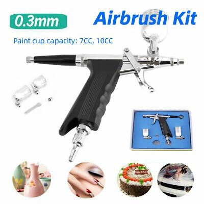 $32.80 • Buy Dual Action Gravity Feed Airbrush Trigger Spray Pen Art Paint Kits Cake Decor