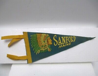 $24.95 • Buy Vintage Sanford Maine Felt Pennant Indian Chief Native American About 11  Long
