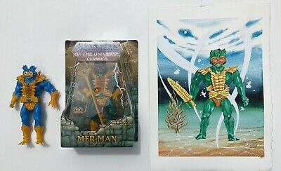 $375 • Buy MOC PREPRO MOTU CLASSICS MER-MAN & 9 X12  ORIGINAL ART & New Loose BLUE MER-MAN