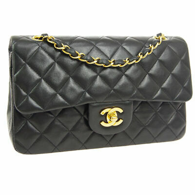 AU5780 • Buy 100% Auth. CHANEL Vintage Small Classic Black Lambskin Double Flap Bag 24K GPHW