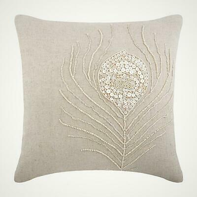 60x60 Cm Euro Cushion Cotton Linen Designer Ecru Beige - Pearly Peacock Feather • 36.11£