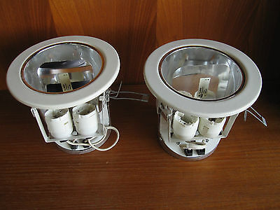2 Commercial Business White 170mm Bell Ceiling Downlighters 2x 10w Fluorescent • 19.99£