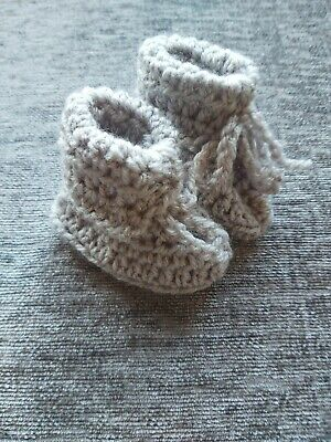 Handmade Crocheted/Knitted Baby Cuffed Booties 0-3months In Grey Colour.  • 2£